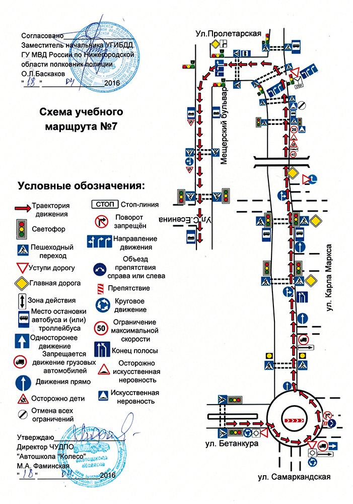 Схема учебного маршрута №7